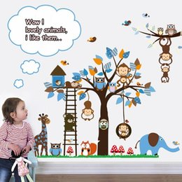 Wholesale Wholesale Home Decor Modern Cheap - Cheap!Animal cartoon Wall Stickers For Kids Room Boys Girls Home Decor Sticker Wall Art Decals home decoration adesivo de parede