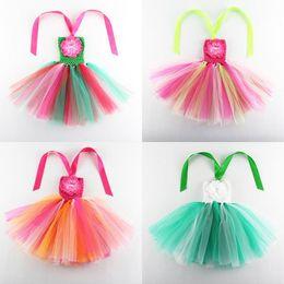 Wholesale Stripe Rainbow Tutu Dress Girl - Rainbow Stripe Girl TUTU Dresses Performing Dance Dress Flower Strapless Party Dress 1-7T 1101