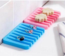 Wholesale Soap Dishes Bath - 200piece Bathroom Accessories Silicone Flexible Soap Dish Storage Soap Holder Plate Tray Drain Creative Bath Tools