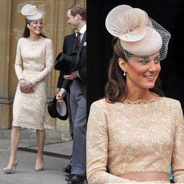 Wholesale Kate Middleton Sheath Dress - Champagne Long Sleeve Kate Middleton Dress Evening Dresses Jewel Neck Empire Waist Ribbons Knee Length Sheath Women Celebrity Prom Dress