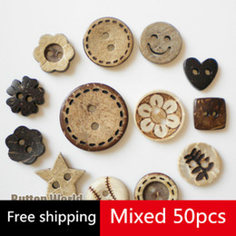 Wholesale Wholesale Shell Crafts - Free shipping 50 Pcs 10-15mm Coconut Shell wooden Buttons craft scrapbooking accessories diy sewing buttons