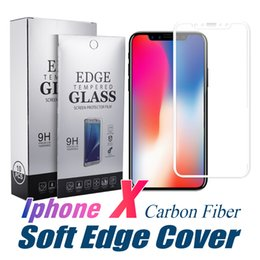 Wholesale Full Rims - Carbon Fiber Rim Tempered Glass For iPhone X 8 Plus Hardness Soft Edge Full Cover Screen For iPhone 7 Plus with Retail Package