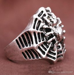 Wholesale Spiders Rings Jewelry - Europe Style Spider Web Antique Silver Plated Finger Rings Stainless Steel Silver Ring Jewelry For Men