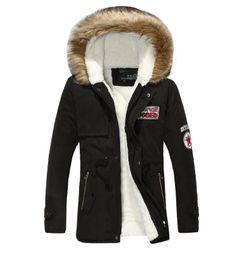 Wholesale Mens Green Parka - Winter Mens Warm Parka Fur Collar Hooded Black Thick Duck Down Coat Outwear Down Jacket Comfortable Warm Man Coat Fashion Coat Man