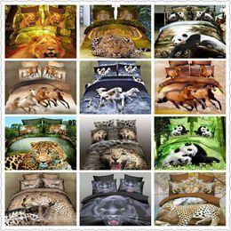 Wholesale Leopard Print Duvets - Wholesale-hot sale leopard panda horse lion tiger animal printed bedding sets full queen size bed linens duvet covers bedspread wholesale