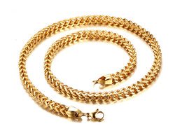 Wholesale Top Fahsion - Fahsion New Design Top Selling Never Fade Stainless steel 18k Gold boxy Link chain Necklace High Quality Men's Jewelry 6mm 24''