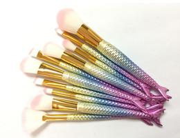 Wholesale Professional Blush Brush - 1lot= 10pcs MERMAID BRUSH Makeup Brushes Sets 3D Colorful Professional Make Up Brushes Foundation Blush Cosmetic Brush Set Kit Tool