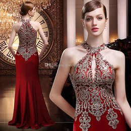 Wholesale Long Sleeve Dinner Gowns - actural photos burgundy Arabic halter evening gowns 2018 heavily crystals embroideried evening dresses for party dinner