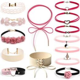 Wholesale Pink Gold Statement Necklace - Fashion Vintage Velvet Choker Jewelry Set Pink Series Velvet Necklace Women Statement Necklaces Stretch Vollar Necklace Joker Jewelry