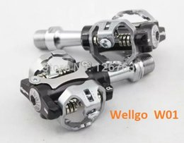 Wholesale Lock Pedals - Wholesale-Original Wellgo W01 Mountain Bike MTB Clipless Pedals Cycling Clipless Pedals Bicyle Self-Locking SPD Pedals Free Shipping