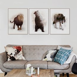 Wholesale Mountain Posters - Nordic Abstract Original Wild Animal Tiger Lion Mountain Forest Canvas Art Print Poster Wall Picture Home Decor Painting No Frame