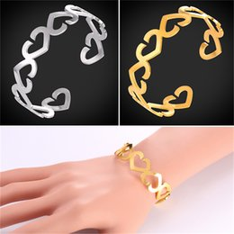 Wholesale Unique Bracelet Designs - U7 Vintage Bangle With Hollow Heart Shape Unique Design Stainless Steel Gold Plated Trendy Bracelet Bangle For Women GH2588