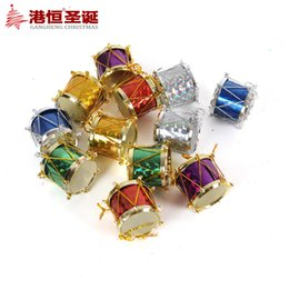 Wholesale Wholesale Hang Drum - Christmas tree decoration accessories supplies 2 cm laser colorful color side drum (12) supplies natal snowflake crafts hanging party suppli