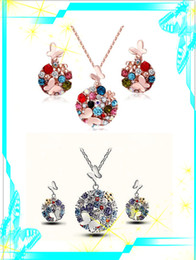 Wholesale Costume Jewelry Butterfly Necklace - Trendy 18K Gold Plated Crystal African Fashion Round Gems Costume Jewelry Sets for Women Colorful Butterfly Necklace Earrings Sets Gift