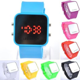 Wholesale Square Silicone Watch Ladies - Ladies Women LED mirror Makeup watch sport watches For Mens Students unisex fashion plastic rubber jelly silicone digital Watch
