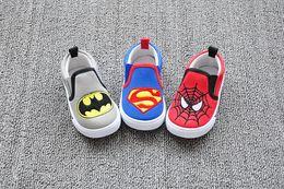 Wholesale Shoe Children Batman - Cartoons Soft-soled shoes Superman Batman modeling children's canvas shoes cheap baby shoes 1-4 years children sports shoes 8pair 16pcs C6