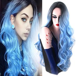 Wholesale Long Black Curly Cosplay Wig - New Sexy Cosplay Ombre Wigs Black Blue Long Body Wave Lace Front Wig Heat Resistant Glueless Synthetic Lace Front Wigs for Black Women