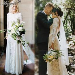 Wholesale French Gowns - Vintage Lace Bohemian Wedding Dresses French Lace Long Sleeve Boho Wedding Dress Open Back Floor Length Bridal Gown vestido de noiva 2017