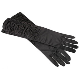 Wholesale Evening Satin Men - Wholesale-2015 hot free shipping A Pair Long Stretch Satin Ruched Evening Gloves for Fancy Dress Costume - Black ,IN STOCK