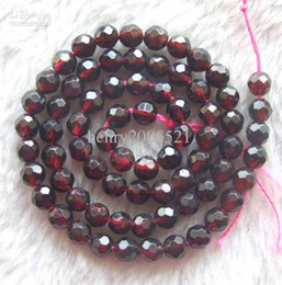 Wholesale finish letter - DIY semi-finished products Garnet Faceted Round Beads 8mm 15inches