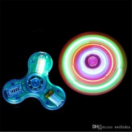 Wholesale Up Mp3 Speaker - bluetooth speaker led fidget Light Up hand spinner Fingertips spinner Transparent Crystal Hand Spinners bluetooth speaker