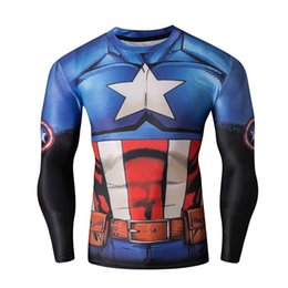 Wholesale Marvel T - Wholesale-Men Sport Gym Compression Shirt Tights Marvel Superhero Long Sleeve t shirts Base Layer Mens Fitness Cosplay t shirt Hot Sale