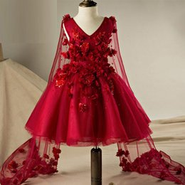 Wholesale Kids Corsets Dresses - Dark Red Burgundy Girls Pageant Dresses for Teens V Neck Sleeveless 3d Floral Appliques Corset Back Kids Gown with Flowing Ribbons
