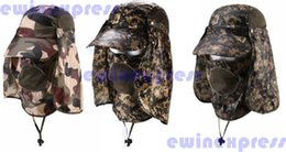 Wholesale Camouflage Outdoor Hats - new outdoor bask in a jungle cap 360 full protection quick-drying cap Sun hat Camouflage fisherman hat for Men