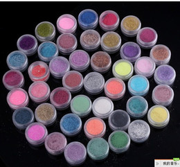 Wholesale Natural Full Nail Tips - High Quailty 45 Colors Shine Nail Glitter Powder Nail Art Fine Dust Set Free Shipping