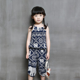 Wholesale Zebra Print Baby Girl - Baby Girl clothes Girl's Retro Pattern Pants Floral Jumpsuit Suspender Trousers Pant Flower Print Kids Summer Outfit 5p l