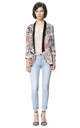 Wholesale Women Flower Blazer - High Quality Ladies Flower Printed Blazer Jacket Vintage 2016 Long Sleeve Kimono Jacket for Women Chaqueta Mujer Jaqueta Esporte
