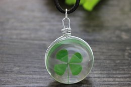 Wholesale Transparent Bottle Necklace - wholesale 10pcs lot Natural real Four Leaf Clover necklace transparent Glass bottle charm pendant Necklace