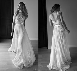 Wholesale Two Piece Lace Wedding Gowns - 2017 Lihi Hod Wedding Dresses Two Pieces Sweetheart Sleeveless Low Back Pearls Beading Sequins Lace Chiffon BeachBoho Bohemian Wedding Gowns