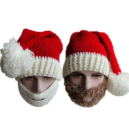 Wholesale White Beard Costume - Fashion Christmas Hats Handmade Knitted Beard Caps Hats Christmas Gift Props Christmas party Costumes Cosplay Santa Claus Red Hat P3