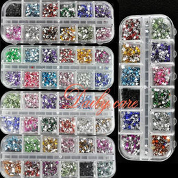 Wholesale Gem Nails - Wholesale-1800pcs box Nail Rhinestones Mix Color Teardrop Nail Art Decoration Nail Rhinestones Deco Glitters Gems