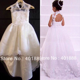 Wholesale Tulle Red Lace Fabric - White High Neck Lace Appliques Hi Lo Flower Girls Dresses Beads Tulle Fabric Charming Princess Little Girl Dress High Quality Custom Made