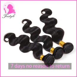 Wholesale Cheap Real Hair Pieces - Cheap Brazilian Virgin Human Hair Weaves Body Wave Natural Black Can Be Dyed and Bleached Real Human Hair Extensions