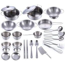 Wholesale Toy Kitchen Utensils Wholesale - Wholesale- 25pcs set Early Learning Educational toy model simulation kitchen utensils toys stainless steel quality material Free shipping