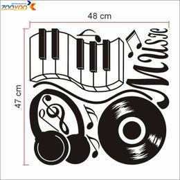 Wholesale Music Vinyl Wall Art - headset popular music sticker ZooYoo8323 vinyl wall decal home interior decor wall art 3d room decor creative boy design