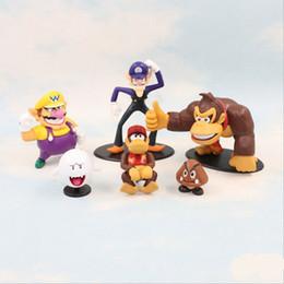 Wholesale Game Kong - Super Mario Bros Vallio monkey King Kong toys 6 design EMS Free new children PVC Super Mario Bros 3-8cm Animation game series toy B001