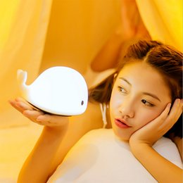 Wholesale Touch Lamps For Kids - Wholesale- Cute dolphin LED Night light for Children,Kids USB Rechargeable Colorful Silicone Sensitive Tap Control Table Lamp for Bedroom