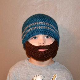 Wholesale Acrylic Balaclava - winter striped knit ski face mask beanie for kids crochet beard hats balaclava casquette funny children hats new arrival