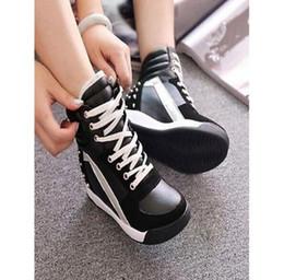 Wholesale Winter Hidden Wedges Shoes - Women Sneaker Rivet Punk Hidden Wedge Cross Strap Snow Riding Boots Oxford Shoes