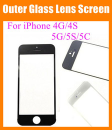 Wholesale Iphone 5c Glass Lens - Front Outer Glass Lens fit iPhone 4 4G 4S 5G 5S 5C transparent clear high copy Touch Screen Cover Touch Screen digitizer replacement SNP006