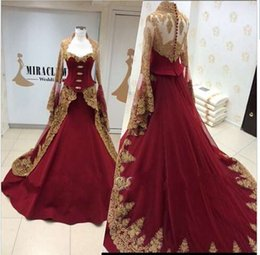 Wholesale Cap Sleeved Lavender Evening Gown - Long Sleeved Evening Dresses 2016 Ball Gown High Neck Burgundy Evening Gowns With Gold Lace Applique Arabic Dresses