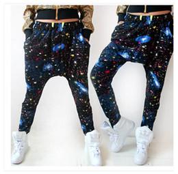 Wholesale Girls Dancing Wear - Spring Summer girl Dance wear Harem pants Stars printing women hip hop street style Loose trousers free shipping