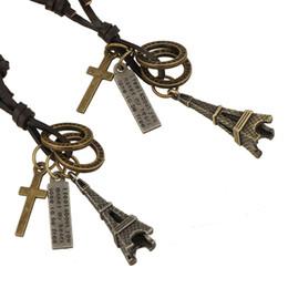 Wholesale Eiffel Tower Pendant Necklace - New Fashion Men Pendants Necklaces Retro Leather Weave Alloy Eiffel Tower Pendants Accessories Decorative necklace Charming Cheap jewelry