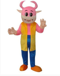 Wholesale Cow Costume Pink - Pink cute cow in suit cartoon mascot costume adult size free shipping