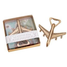 box casting Promo Codes - Wholesale New Airplane Bottle Opener Beer Bottle Opener Wedding Gift Favors With Retail Package Box Free Shipping