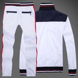 Wholesale Xl Zip Hoodie - Wholesale-men's full zip polo tracksuit men sport suit cheap men sweatshirt and pant suit hoodie and pant set sweatsuit men free
